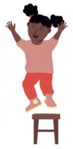 Kind springt op kruk