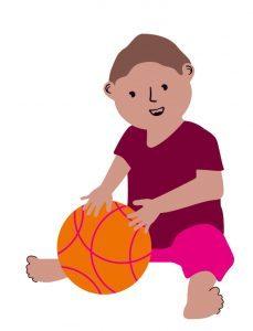 Bewegen met je baby bal spelen