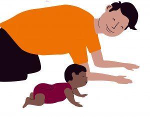 Bewegen met je baby samen kruipen