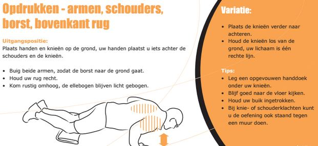 Illustratie en uitleg over een oefening voor het versterken van armen, schouders, borst en en rug
