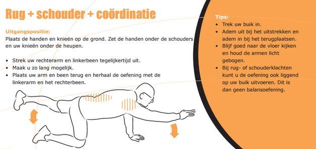 Illustratie en uitleg over een oefening voor rug, schouder coördinatie