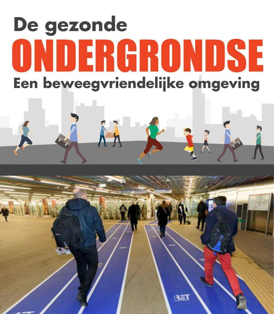 afbeelding van metro in Rotterdam met aangelegde paarse banen naar de uitgang als zijnde atletiekbanen
