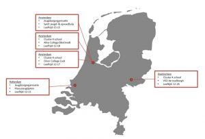 Kaartje van Nederland met Overzicht deelnemers vragenlijsten Jeugd, Zorg en Sport