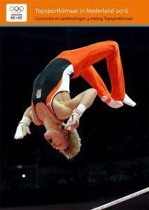 poster Topsportklimaat in Nederland 2016 met een afbeelding van Epke Zonderland terwijl hij een salto in de lucht maakt