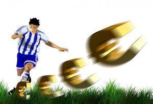 Cartoon waarbij een voetballer eurotekens wegtrapt