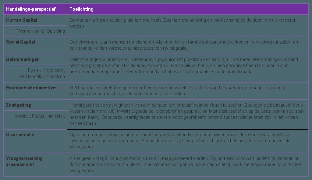 Toelichting handelingsperspectieven Wanberg et al 2002