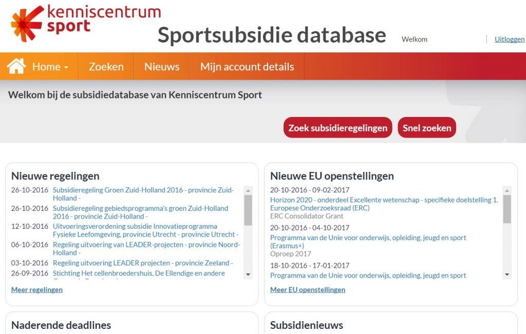 afbeelding van homepage sportsubsidie database Kenniscentrum Sport