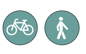 2 borden die een fietspad en een voetpad aangeven