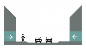 illustratie van 2 auto's en een voetganger die op veilige afstand en zichtbaar is
