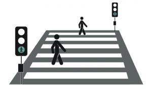 illustratie van een zebrapad met voetgangers die oversteken