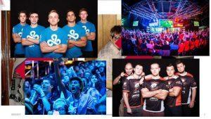 fotocollage van e-sportteams en toeschouwers