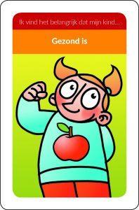 argumenten kaartje met een illustratie van een meisje met een afbeelding van een appel op haar trui