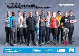 Flyer Atletiek #gewoonschoon met daarop een aantal sporters