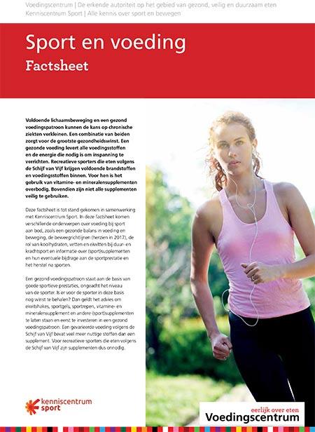 De afbeelding laat de eerste pagina zien van de factsheet sport en voeding