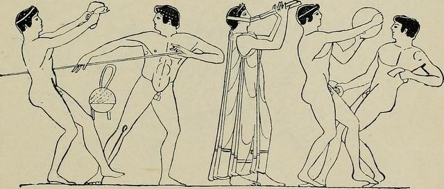 tekening van de oude grieken aan het sporten