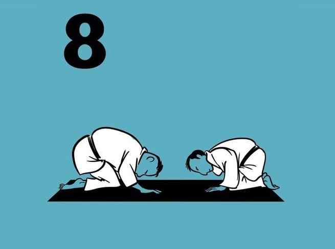 Illustratie met 2 judoka's die elkaar op de mat groeten