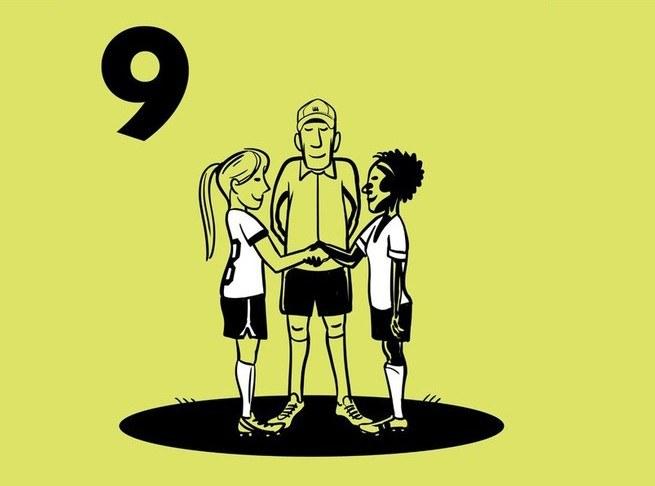 Illustratie 2 kinderen die elkaar de hand schudden met hun coach in het midden