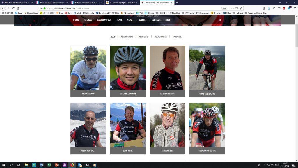 een schermafbeelding van de fotogalerij van Wielervereniging Amsterdam