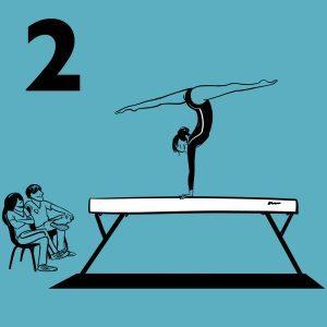 illustratie van een turnster die een oefening doet op een evenwichtsbalk
