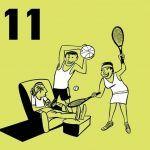 Illustratie van 2 ouders in sporttenue die een puberzoon uit de luie stoel proberen te krijgen