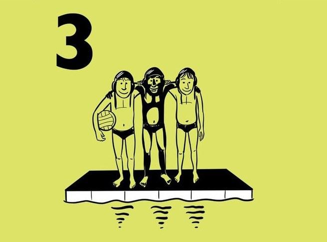 Illustratie van 3 jongens aan de rand van een zwembad