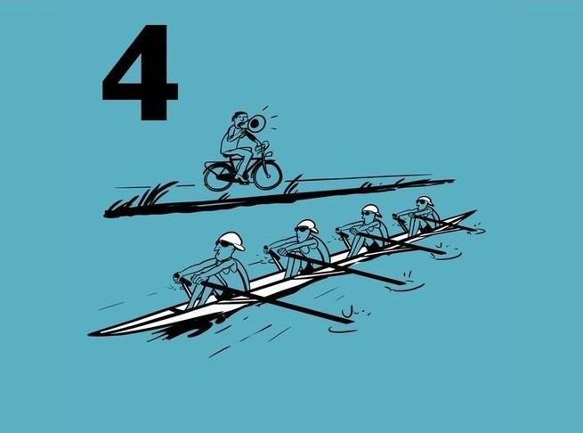 Illustratie van roeiers die worden aangemoedigd vanaf de kant door een coach op de fiets