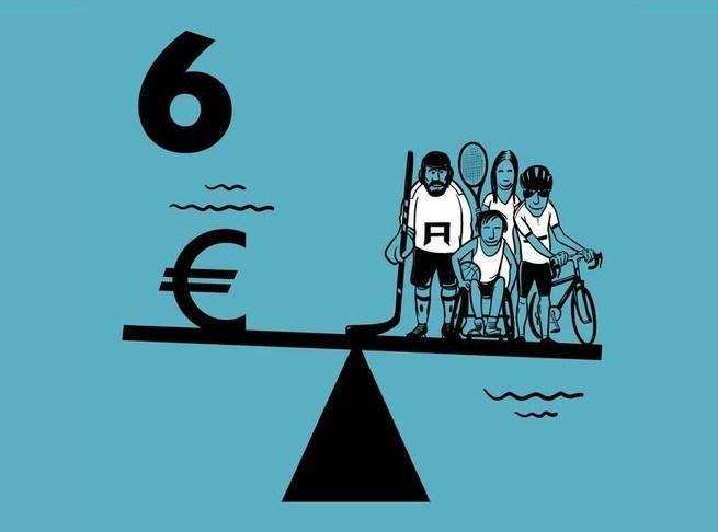 Illustratie van een balans waarop Geld en verschillende sporters staan