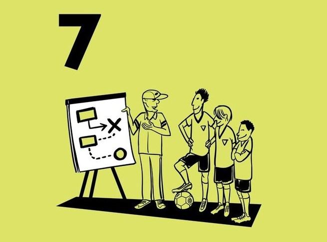 Illustratie van een trainer die op een flipover de tactiek uitlegt aan de spelers