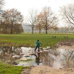 een kind springt van steen naar steen om een beekje over te steken - een voorbeeld inrichting openbare ruimte in het groen