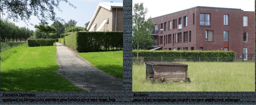voetpad en binnentuin en uitzicht op weide