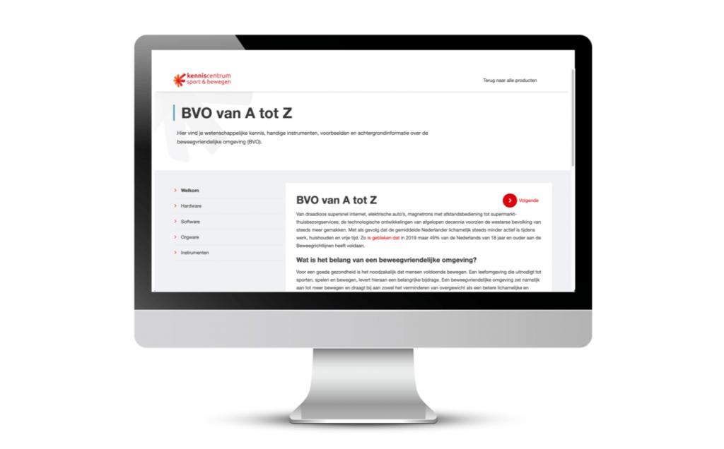 PC met een shermafbeelding van de themapagina BVO van A tot Z