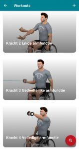 Screenshot workouts WHEELS app