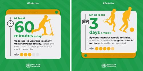 Infographic internationale beweegrichtlijnen kinderen 5 tot 18 jaar
